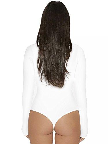 Jumpsuits Blanc Longues Rompers Femme Casual Justaucorps Manches Unie Haut Fashion Combishorts de Moulant Bodysuit Couleur Col Onlyoustyle Top Haut Leotard H8x6wq6n