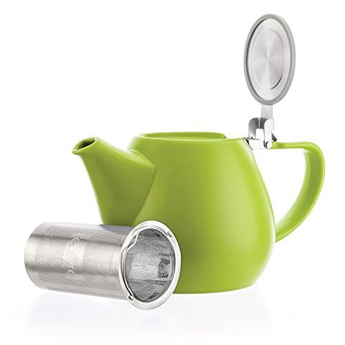 Teapot Green Lid (Tealyra - Jove Porcelain Large Teapot Lime - 34.0-ounce (3-4 cups) - Japanese Made - Stainless Steel Lid and Extra-Fine Infuser To Brew Loose Leaf Tea - Ceramic Tea Brewer - 1000ml)
