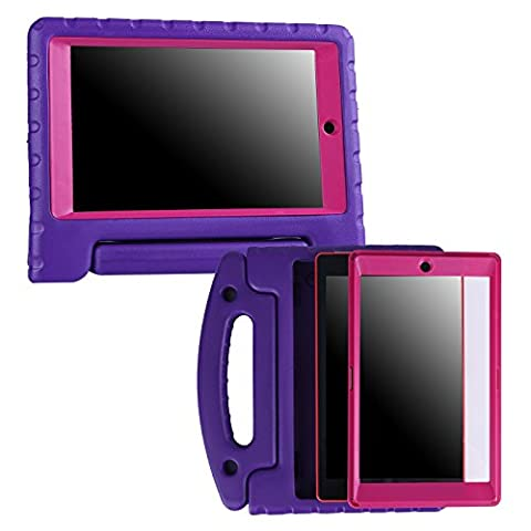 HDE Kids Case for All-New Amazon Fire HD 8 (2017 7th Generation) Shock Proof Bumper Cover with Handle Stand Built-in Screen Protector for 7th & 6th Generation Amazon Fire HD 8 (Purple & (Kindle Case Designer)