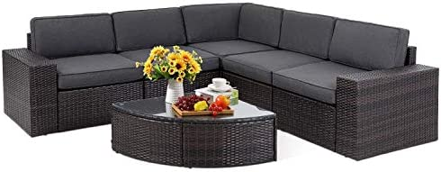 SOLAURA Outdoor Patio Furniture Set 6-Piece Wicker Furniture Modular Sectional Sofa Set Brown Wicker Sophisticated Sector Glass Coffee Table Grey