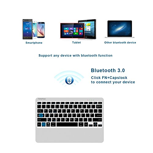 FENIFOX Bluetooth Keyboard,Metal Whisper-Quiet Keys with 6500mAh Power Bank Charger for Mobile Phone Tablet Ipad Surface Cellphone by FENIFOX (Image #1)