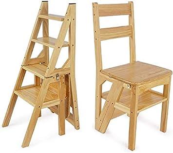 GBX Fácil y multifunción Conveniente Taburete plegable Escaleras Taburetes 4 peldaños Escaleras Silla/Taburete Escalera plegable Madera maciza Doble uso Jardín y amplificador; Herramienta de cocina: Amazon.es: Bricolaje y herramientas