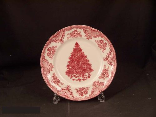 Christmas Tablescape Décor - Vintage Johnson Brothers Old Britain Castles Christmas Tree Edition pink/red salad plate