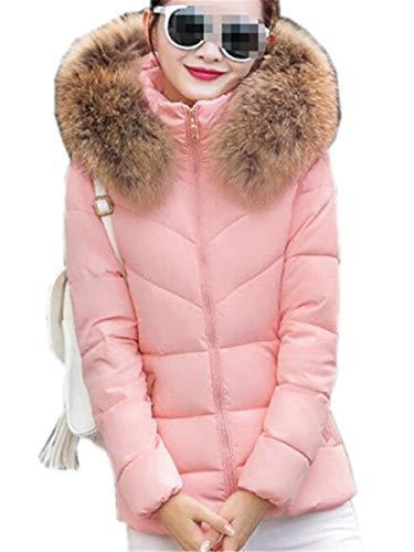 Grande Femme Blouson Longues Outdoor Outwear Doudoune Capuchon Manteaux Mode Fourrure Hiver Épaissir Elégante Avec Taille Quilting Manteau Manches Screenes Rose Chaud zafqqw