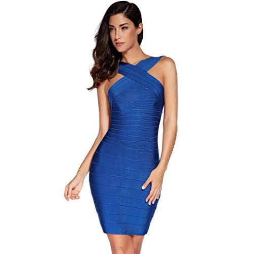 ab59dfe8b Meilun Women s Rayon Front Cross Cocktail Bandage Bodycon dress  well-wreapped