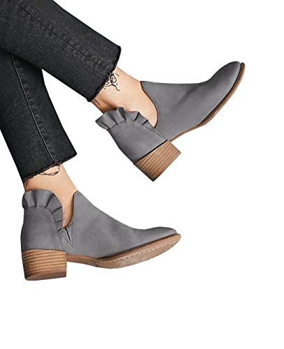 Womens Cutout Booties Ruffled Block Low Heel Pointed Toe Slip-on Fall Ankle Boots Grey