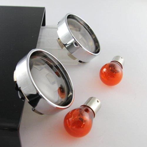 - KiWAV Turn Signal bullet smoked Lens Chrome Trim Rings 2PCS Bulbs for Harley Davidson