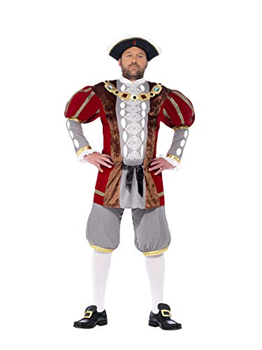 Smiffy's Men's Henry VIII Deluxe Costume, Red M - US Size 38