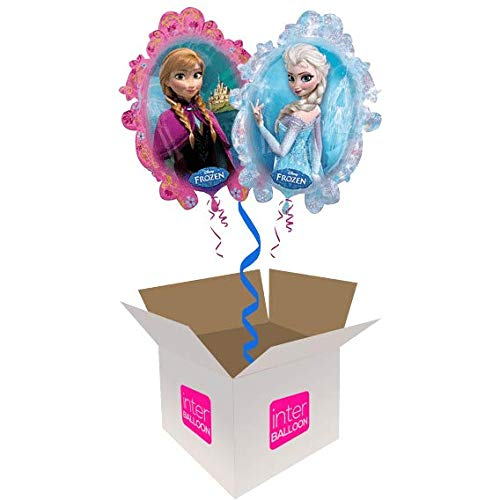 Single Balloon InterBalloon Helium Inflated 31  Elsa & Anna Balloon Delivered in a Box with 4 Extra Balloons of your choice