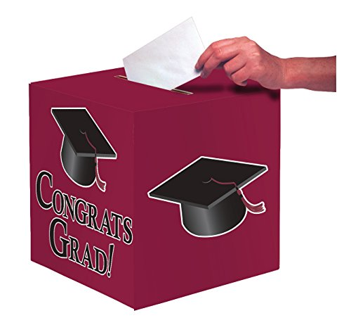 Creative Converting Congrats Grad Card Holder Box, Burgundy -