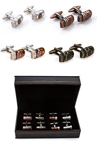 MRCUFF Cigars 4 Pairs Cufflinks in a Presentation Gift Box & Polishing Cloth