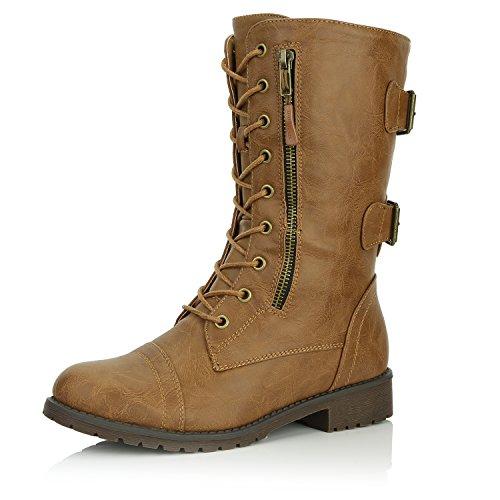 DailyShoes Damen Militär Ankle Lace Up Schnalle Kampfstiefel Mitte Kniehohe Exklusive Kreditkarten-Booties Schlanke Bräune