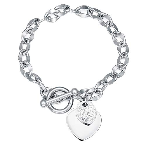 QJLE 316L Stainless Steel Chain 14K White Gold Plated Handcuffs Heart Charm Bracelet for Women (CZ Heart)