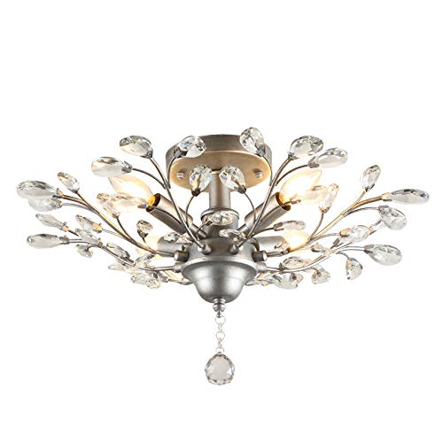 """SEOL-LIGHT Vintage Sliver Grey Crystal Branches Chandeliers Ceiling Light Flush Mounted Fixture with 4 Light 160W 25.5""""Dia for Bedroom,Living Room,Entryway"""