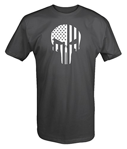 American Flag Vertical Tactical Military Punisher Skull T shirt - Xlarge
