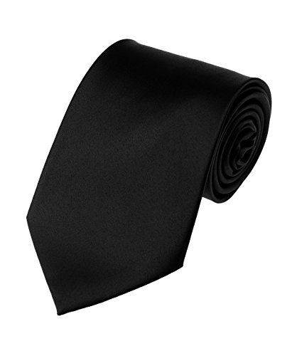 Men's Smooth Satin Solid Color Extra Long XL Necktie, Black