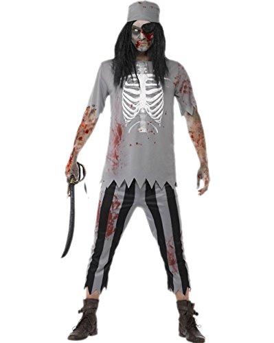 JJ-GOGO Men Pirate Costume - Halloween Adult Zombie