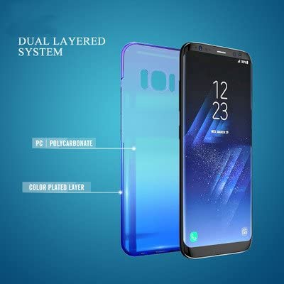 Winhoo Galaxy S8 Case,Gradual Colorful Gradient Change Color Ultra Thin Electroplating Blue Light Mirror Lightweight Anti-Drop Transparent Clear Hard Back Cover Case for Samsung Galaxy S8