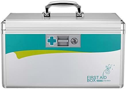 Glosen Lockable First Aid Box Security Lock Medicine Storage Box with Portable Handle (Medium)