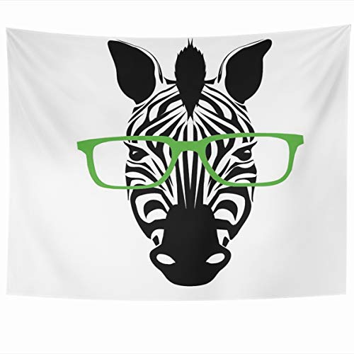 Ahawoso Tapestry 60x50 Inches Inspired Black Cool Zebra Glasses White Face Safari Africa African Wall Hanging Home Decor Tapestries for Living Room Bedroom Dorm