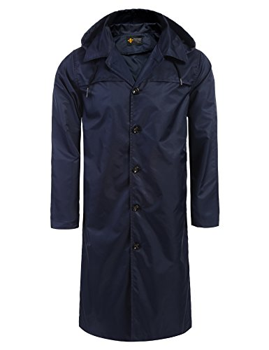 COOFANDY Unisex Long Hooded Rain Coat Windbreaker Rain Trench Jacket