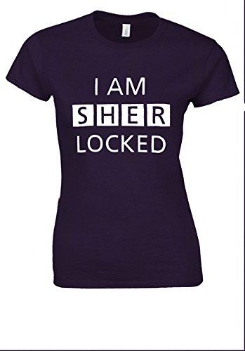 に渡ってハンバーガー疎外するI Am Sherlocked Sherlock Holmes White Women T Shirt Top