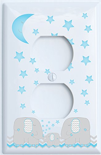 Blue Elephant Outlet Switch Plate Covers with Blue Moon and Stars/Elephant Nursery Decor with Grey and Blue Chevrons. (Outlet (Nursery Outlet Cover)