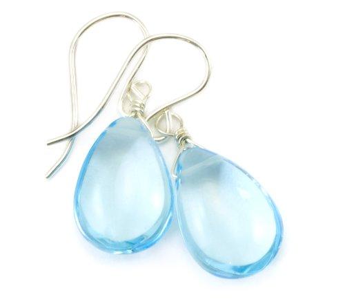 s Blue Light Earrings Smooth Pear Simulated Topaz Teardrops Briolette Cut ()
