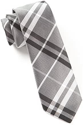 The Tie Bar 100% Woven Silk Silver and Black Barnegat Plaid Tie
