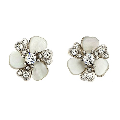 Rhodium Plated Patina Crystal and Mother of Pearl Flower Stud Earrings, Made with Swarovski Crystals ()
