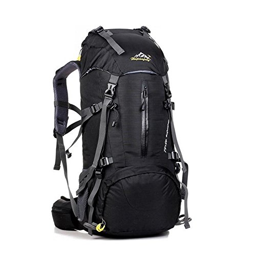 LINGE-Bolsa de montañismo al aire libre durante mucho tiempo gran capacidad mochila impermeable tiendas de campaña para hombres y mujeres 50L , deep blue Black