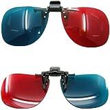 3D Brille Clip-On rot/blau (3D-Anaglyphenbrille) für Brillenträger hochwertige 3D Brille für 3D PC-Spiele, 3D Bildern, 3D Filme, 3D (z.b. Sky 3D), 3D Projektion, 3D Video Marke PRECORN