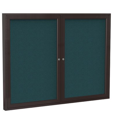 2 Door Enclosed Bulletin Board Size: 3' H x 4' W, Frame Finish: Satin, Surface Color: Gray by Ghent