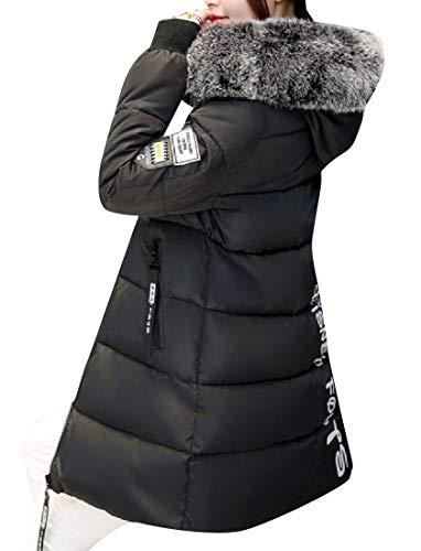 Collare Di Nero Rkbaoye Termica Coscia Sherpa Giacca Lunghezza Trapuntata Womens wqIUa1