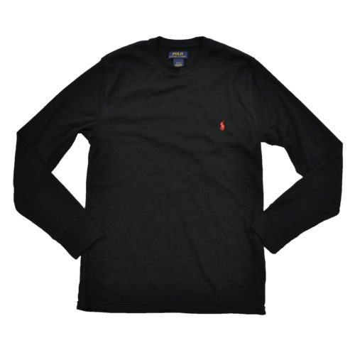 Polo Ralph Lauren Mens Thermal Long Sleeve Sleep Shirt (S, Black)