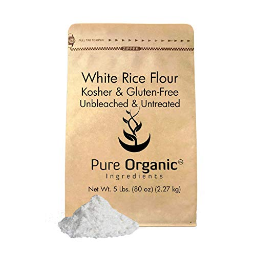 Pure Rice - Pure Organic Ingredients White Rice Flour, Kosher, Gluten Free, Fat Free, Sodium Free, Unbleached & Untreated, Vegan (5 lb (80 oz))