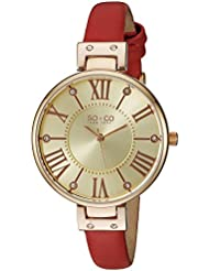 SO&CO New York Womens 5091.4 Slim Red Crystal Accent Leather Strap Watch