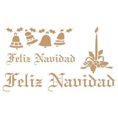 TODO-STENCIL Deco Fiesta 022 Feliz Navidad. Medidas aproximadas: Medida exterior 20 x 20 cm Medida del diseñ o:18 x 10, 4 cm
