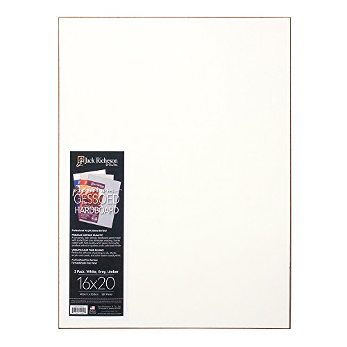 Jack Richeson Hardboard Panel, Assorted, 1/8 x 16 x 20 inches, Set of 3 by Jack Richeson