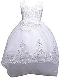 Little Baby Flower Girls Baptism Christening Dress Birthday Party Tutu Dresses Wedding Evening Long Tail Dress