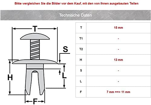 CL-0262 20x Schraubnieten Befestigung Clips Universal Klips