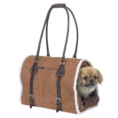 Zack & Zoey Polyester Deluxe Sherpa Small Pet Carrier, Small, Chestnut