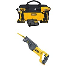 DEWALT DCK240C2 20v Lithium Drill Driver/Impact Combo Kit (1.3Ah) with Reciprocating Saw, Bare Tool Only