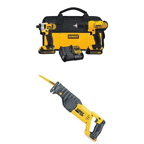 DEWALT DCK240C2 20v Lithium Drill Driver/Impact Combo Kit (1.3Ah) with Reciprocating Saw, Bare Tool Only by DEWALT