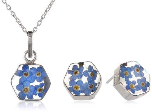 """Sterling Silver Pressed Flower Earrings and Matching Pendant Necklace Set, 16"""""""