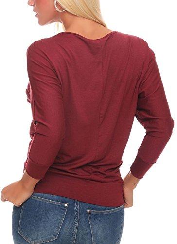malito Longsleeve Lady-Fit Básico Top Suéter Jersey Clásico Loose Tramo Casual 1368 Mujer Talla Única burdeos