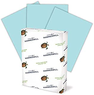 product image for Hammermill Colored Paper, 20 lb Blue Printer Paper, 8.5 x 11-1 Ream (500 Sheets) - Made in the USA, Pastel Paper