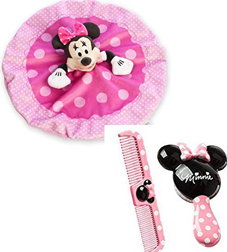 Price comparison product image Minnie Mouse Blanket Bundle,  with 1 Disney Minnie Brush and Comb Set and 1 Disney Minnie Mouse Plush Blanket for Baby