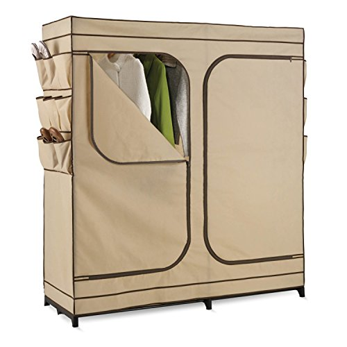 Honey-Can-Do® WRD-01272 Double Door Storage Closet with Shoe Organizer, 60-Inch - Color Brown Trim - High-capacity steel rod holds all of your shirts, pants and other garments