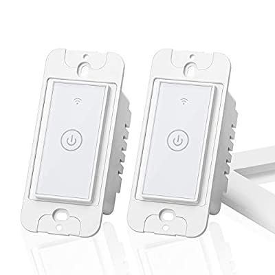 meross Wi-Fi Smart Light Switch, Compatible with Alexa and Google Home, Fit for US&CA, Remote Control with Timing Function, No Hub Needed-Upgrade Version, 2 Pack